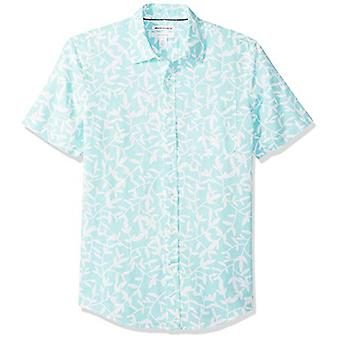 Essentials Men's Slim-Fit Short-Sleeve Print Linne skjorta, Aqua Leaf, X...