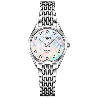 Rotary Women's Ultra Slim | Stainless Steel Bracelet | Diamond Mother Of Pearl Dial LB08010/07/D Watch