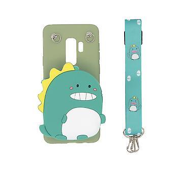 3D mobile Tasche eingebaute Brieftasche für Samsung Galaxy S9 Plus - Dinosaurier, grün