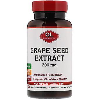Laboratoires olympiens, extrait de pépins de raisin, 200 mg, 100 capsules végétariennes