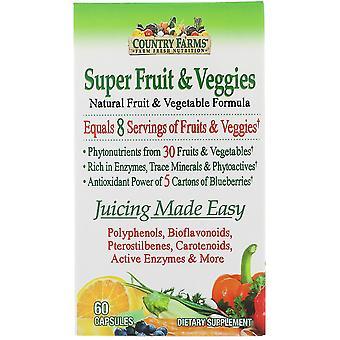 Country Farms, Super Fruit & Veggies, Natural Fruit & Vegetable Formula, 60 Caps