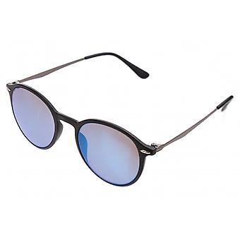 Gafas de sol Unisex negro mate con lente de espejo azul (AZ-2140)