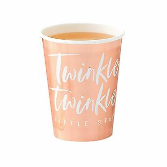 Rose Gold Foiled Paper Party Cups x 8 - Twinkle Twinkle - Baby Shower