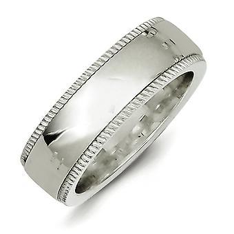 Solid polerad Milgrain Halv round graverbar 7mm Millgrain Comfort Fit Band Ring Smycken Gåvor för kvinnor - Ring Storlek: 4