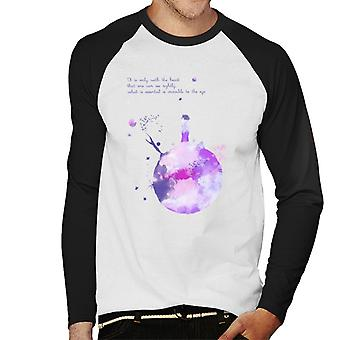 The Little Prince Purples Paint Effect Heart Quote Men's Baseball Long Sleeved T-Shirt