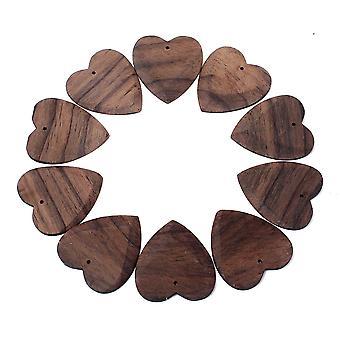 10PCS Wooden Heart Grain Guitar Picks for Guitar Bass and Ukulele