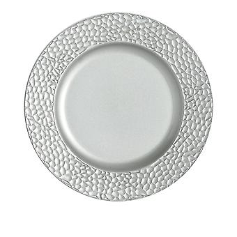 Argon Tableware Single Round Charger Plate - Hammered Metallic Finish - 33cm - Silver