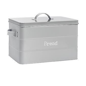 Industrial Bread Bin - Vintage Style Steel Kitchen Storage Caddy with Lid - Grey