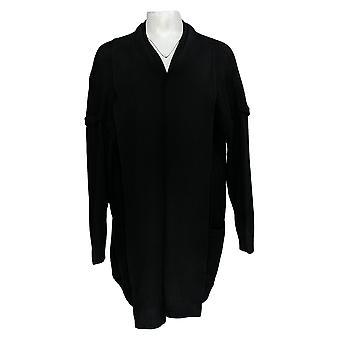 Martha Stewart Femmes's Pull Open Front Cardigan W/ Pockets Noir A370424