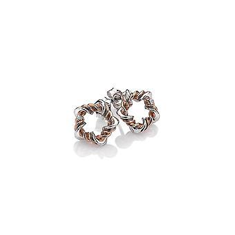 Hete diamanten sterling zilver Vine Rose Gold Plate accenten oorbellen DE620
