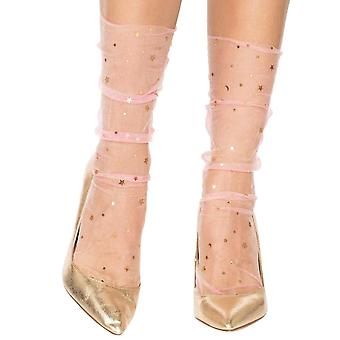 Mesh stockings with Stars - Pink