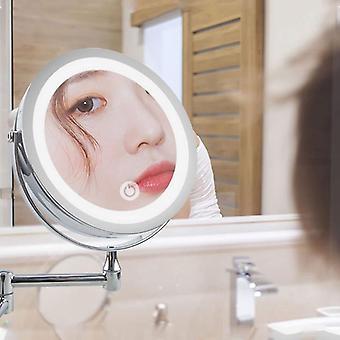 veggmontert bad ledet makeup speil, 10x forstørrelse justerbar kosmetisk