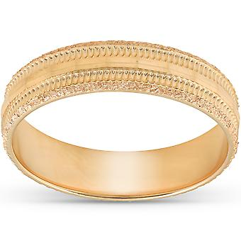5MM Hand Carved 10k Yellow Gold Diamond Facet Cut Mens Wedding Band