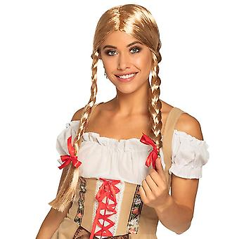 Womens Blonde Heidi Wig Bavarian Oktoberfest Fancy Dress Accessory