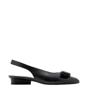 Salvatore Ferragamo 733253 Women's Black Leather Sandals