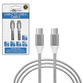 FX Pletený USB-C až USB-C dátový kábel 1m - strieborný