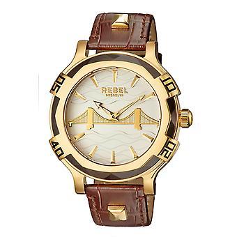 Rebel Men's Brooklyn Bridge Silver Dial Leather Watch