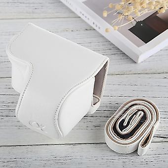 Full Body Camera PU Leather Case Bag with Strap for Sony A6000 / A6300 / Nex 6(White)