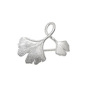 Broche Double Ginkgo Leaf Silver 925