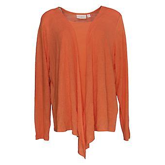 Belle by Kim Gravel Women's Sweater Knit Duet Cardigan Pink A390942
