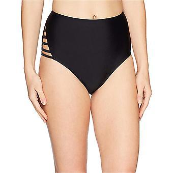 Brand - Mae Women's Swimwear Strappy High Waist Cheeky Bikini Bottom,Black,Small