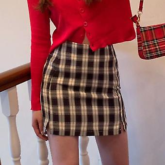 Korean Colored Plaid Skirt Women Student Chic Short Sexy Mini Spring Summer