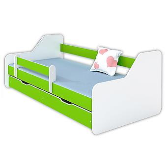 Kinderbed 160x80 wit / groen met lattenbodem.