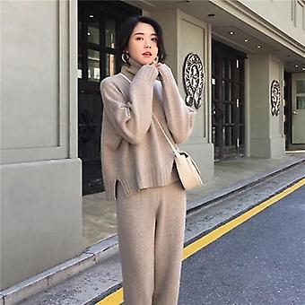 Autumn, Spring Knitted Tracksuit, Turtleneck Sweatshirts, Women Clothing Set