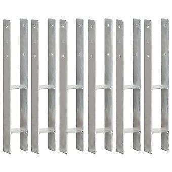 Pfostenträger 6 Stk. Silbern 8×6×60 cm Verzinkter Stahl