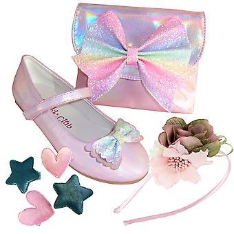 Blek rosa sparkly ballerina sko, matchende bag og hår sett