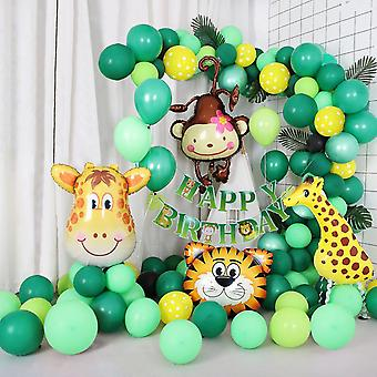 Jungle themed birthday balloon arch decoration diy kit - includes 75+ balloons