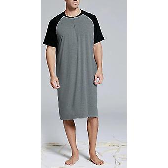 Sleep Tops Summer Short Sleeve Round Neck Patchwork Nightshirts Loose Nightwear