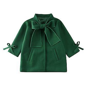 لطيف معطف الطفل، Woolen Bowknot معطف واحد صدر، الملابس الخارجية الشتاء الدافئة