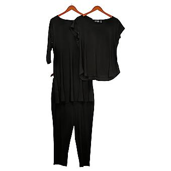Vrouwen met Control Petite Set Wardrobe Warrior 3-delige set Zwart A30832