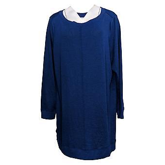 Denim & Co. Top donna Più tunica a manica lunga blu A384020