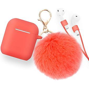 Silikoni ihon suojakotelo AirPods 2 & 1 kanssa anti-lost hihna, Turkis pallo avaimenperä, Elävä koralli (edessä LED näkyvissä)