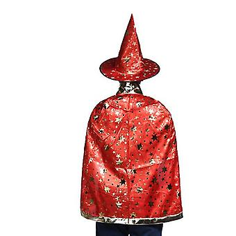 Cape Witch Cloak With Hat And Pumpkin Bag, Halloween Costume Props For Kids Cosplay Party