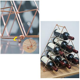 Metal Wine Rack, Countertop Wine Bottle Holder, Pyramid-shaped Design for Wine Storage