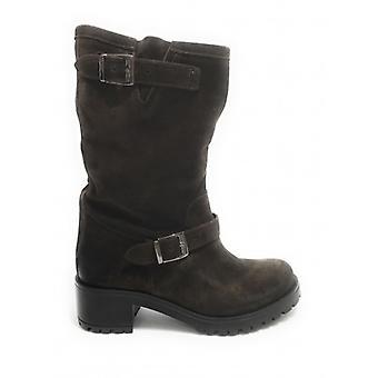 Shoes Women's Elite Boot Biker Bottom Carrarmato Leather Suede Moro's Head D21el03