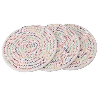 Thread Insulation Hot Pads Heat Resistant Set of 3 Round Multiolor 18cm