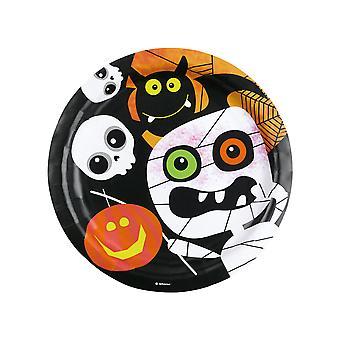 8 kartonnen platen kleine Halloween monsters