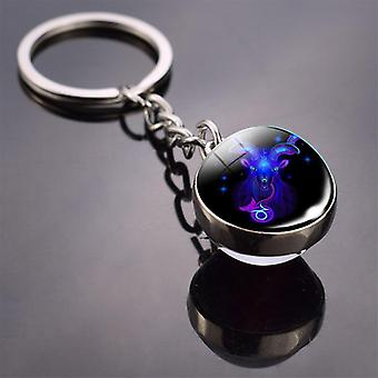 Constellation Keychain, Double Side Cabochon Glass Ball, Zodiac Signs Jewelry,