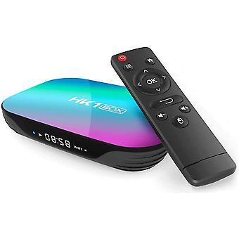 HK1 TV Box Android 9.0, 4 Gt RAM 32 Gt ROM, S905X3 Quad Core 64 bit Cortex-A55, GPU G31 ™ MP2, 2.4 G / 5 G dual WiFi BT4.0 H.265 Decoding LAN 1000 RJ-45 , HD 8K Smart TV Box (Musta)