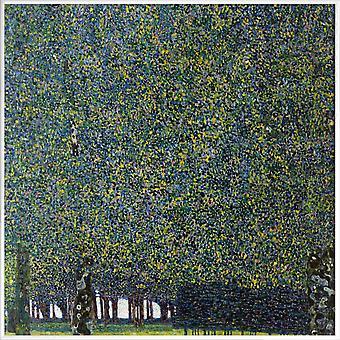 JUNIQE Print - Klimt - Puisto - Gustav Klimt Juliste sinisellä & vihreällä