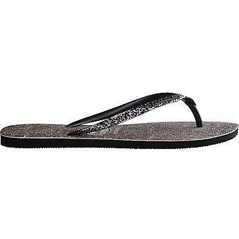 Havaianas Womens Slim Carnival Summer Beach Sandals Thongs Flip Flops - Black