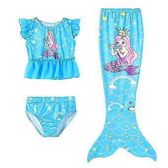 120 Cm blue 3pcs girls swimsuits mermaid for swimming mermaid x7373