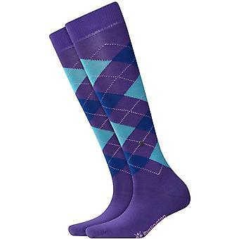 Burlington Marylebone Knee-High Socks - Umber Brown/Blue