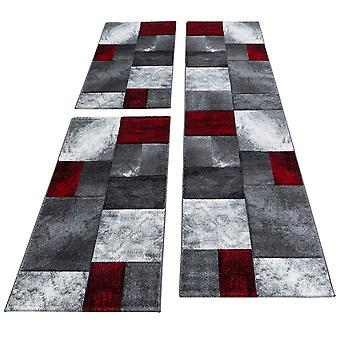 Bettumrandung Läufer Teppich Modern Designer Läuferset Kariert Linien Muster Meliert 3 Teilig Schwarz Grau Rot Weiß