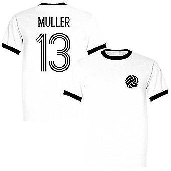 Sporting empire gerd muller 13 germany legend ringer retro t-shirt white/black, large