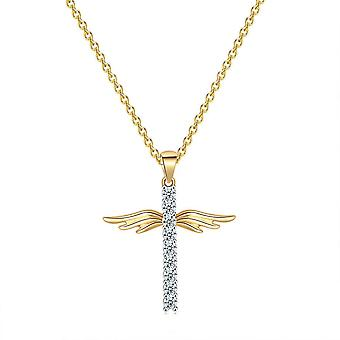 Kryds med englevinger i guld med guldbelægning og zircon